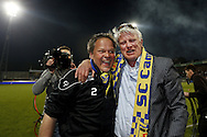 Onderwerp/Subject: Cambuur Leeuwarden - Jupiler League<br /> Reklame:  <br /> Club/Team/Country: <br /> Seizoen/Season: 2012/2013<br /> FOTO/PHOTO: Interim Coach Henk DE JONG (L) of Cambuur Leeuwarden and Chairman Ype SMID (R) of Cambuur Leeuwarden celebrating Jupiler League Championship and promotion to Eredivisie. (Photo by PICS UNITED)<br /> <br /> Trefwoorden/Keywords: <br /> #02 $94 &plusmn;1367598354739 &plusmn;1367598354739<br /> Photo- &amp; Copyrights &copy; PICS UNITED <br /> P.O. Box 7164 - 5605 BE  EINDHOVEN (THE NETHERLANDS) <br /> Phone +31 (0)40 296 28 00 <br /> Fax +31 (0) 40 248 47 43 <br /> http://www.pics-united.com <br /> e-mail : sales@pics-united.com (If you would like to raise any issues regarding any aspects of products / service of PICS UNITED) or <br /> e-mail : sales@pics-united.com   <br /> <br /> ATTENTIE: <br /> Publicatie ook bij aanbieding door derden is slechts toegestaan na verkregen toestemming van Pics United. <br /> VOLLEDIGE NAAMSVERMELDING IS VERPLICHT! (&copy; PICS UNITED/Naam Fotograaf, zie veld 4 van de bestandsinfo 'credits') <br /> ATTENTION:  <br /> &copy; Pics United. Reproduction/publication of this photo by any parties is only permitted after authorisation is sought and obtained from  PICS UNITED- THE NETHERLANDS