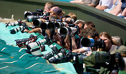 LONDON, ENGLAND - Saturday, June 28, 2008: Photographer's  during a third round match on day six of the Wimbledon Lawn Tennis Championships at the All England Lawn Tennis and Croquet Club. (Photo by David Rawcliffe/Propaganda)