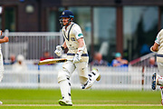 Sam Robson of Middlesex goes for two runs during the Specsavers County Champ Div 2 match between Middlesex County Cricket Club and Glamorgan County Cricket Club at Radlett Cricket Ground, Radlett, Hertfordshire, United Kingdom on 19 June 2019.