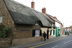 A thatched roof cottage in Oakham; County town in ancient Rutland twinned with Barnstedt,