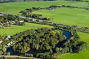 Nederland, Utrecht, Gemeente De Ronde Venen, 27-09-2015; Abcoude. Voormalig Fort Abcoude met spoorweg aquaduct onder riviertje Gein in de achtergrond.<br /> Railway aqueduct under river.<br /> luchtfoto (toeslag op standard tarieven);<br /> aerial photo (additional fee required);<br /> copyright foto/photo Siebe Swart