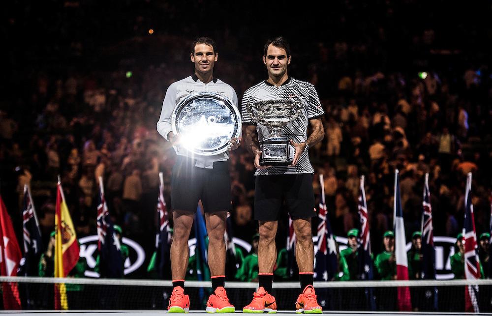 Roger Federer of Switzerland and Rafael Nadal of Spain after the men's final on day fourteen of the 2017 Australian Open at Melbourne Park on January 29, 2017 in Melbourne, Australia.<br /> (Ben Solomon/Tennis Australia)
