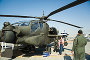 Dubai 2005, 9th International Aerospace Exhibition. U.A.E. Air Force AH-64A Apache attack helicopter.