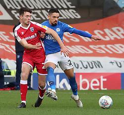 Niall Mason of Peterborough United battles with Thomas O'Connor of Gillingham - Mandatory by-line: Joe Dent/JMP - 11/01/2020 - FOOTBALL - Weston Homes Stadium - Peterborough, England - Peterborough United v Gillingham - Sky Bet League One