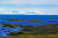 The Westfjords in northwestern Iceland. The glacier of Snæfellsjökull clearly visible.
