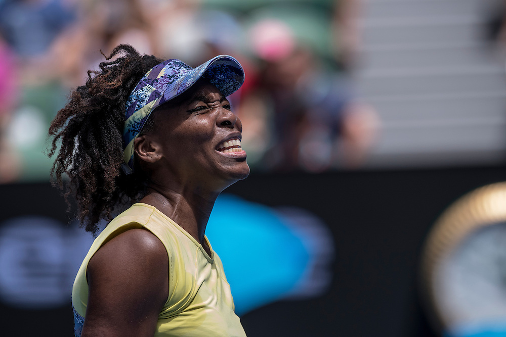 Venus Williams of the United States on day three of the 2017 Australian Open at Melbourne Park on January 18, 2017 in Melbourne, Australia.<br /> (Ben Solomon/Tennis Australia)