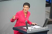 21 MAR 2019, BERLIN/GERMANY:<br /> Sahra Wagenknecht, Die Linke Fraktionsvorsitzende, haelt eine Rede, Bundestagsdebatte zur Regierungserklaerung der Bundeskanzlerin zum Europaeischen Rat, Plenum, Deutscher Bundestag<br /> IMAGE: 20190321-01-091