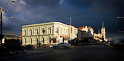 storm clouds and sun over cnr of Lydiard & Mair Sts, Ballarat