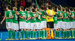 The Irish team lines up for the anthems. Ireland v Germany - Unibet EuroHockey Championships, Lee Valley Hockey & Tennis Centre, London, UK on 23 August 2015. Photo: Simon Parker