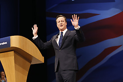 © Licensed to London News Pictures. 07/10/2015. Manchester, UK. Prime Minister DAVID CAMERON speaking at Conservative Party Conference at Manchester Central convention centre on Wednesday, 7 October 2015. Photo credit: Tolga Akmen/LNP
