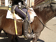 Close up of a mounted police woman on horseback New York city