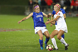 04 November 2016: Katie Wells(5) & Kate Del Fava(8) during an NCAA Missouri Valley Conference (MVC) Championship series women's semi-final soccer game between the Indiana State Sycamores and the Illinois State Redbirds on Adelaide Street Field in Normal IL