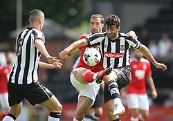 Apostolos Vellios of Nottingham Forest (C) and Mike Edwards of Notts County (R) in action- Mandatory by-line: Jack Phillips/JMP - 23/07/2016 - FOOTBALL - Meadow Lane Stadium - Nottingham, England - Notts County v Nottingham Forest - Mike Edwards Testimonial Pre-Season Friendly