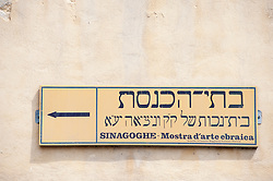 Direction sign  to Synagogue in historic Jewish Ghetto district in Cannaregio in Venice Italy