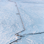 A gas condensate pipeline runs through the sub-Arctic permafrost in Russia's Yamal region.