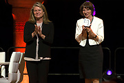 Koning Willem Alexander bij uitreiking Heinekenprijzen in de Beurs van Berlage. / King Willem Alexander at Heineken Awards ceremony in the Beurs van Berlage.<br /> <br /> Op de foto / On the photo: Aleida Assmann (Historische Wetenschap) en Charlene de Carvalho-Heineken