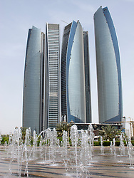 Modern high rise office towers in Abu Dhabi United Arab Emirates UAE