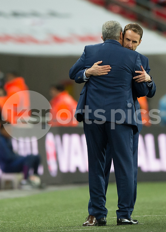 Gareth Southgate manager of England and Tite (Adenor Leonardo Bacchi) manager of Brazil during the International Friendly match between England and Brazil at Wembley Stadium, London, England on 14 November 2017. Photo by Vince Mignott.