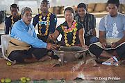 kava ceremony at homecoming greeting for Aunofo, crew member on Hine Moana, traditional double-hulled Polynesian voyaging canoe or waka, Hunga Village, Hunga Island, Vava'u, Kingdom of Tonga, South Pacific
