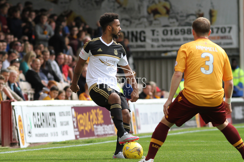 Shay Logan on the attack during the Ladbrokes Scottish Premiership match between Motherwell and Aberdeen at Fir Park, Motherwell, Scotland on 15 August 2015. Photo by Craig McAllister.