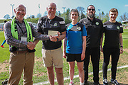 The Supporters Club present a cheque to The FGR ladies during the EFL Sky Bet League 2 match between Forest Green Rovers and Grimsby Town FC at the New Lawn, Forest Green, United Kingdom on 5 May 2018. Picture by Shane Healey.