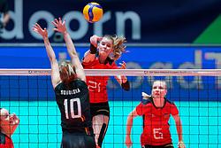 08–01-2020 NED: Olympic qualification tournament women, Apeldoorn<br /> Belgium - Germany / Camilla Weitzel #21 of Germany, Dominika Sobolska #10 of Belgium