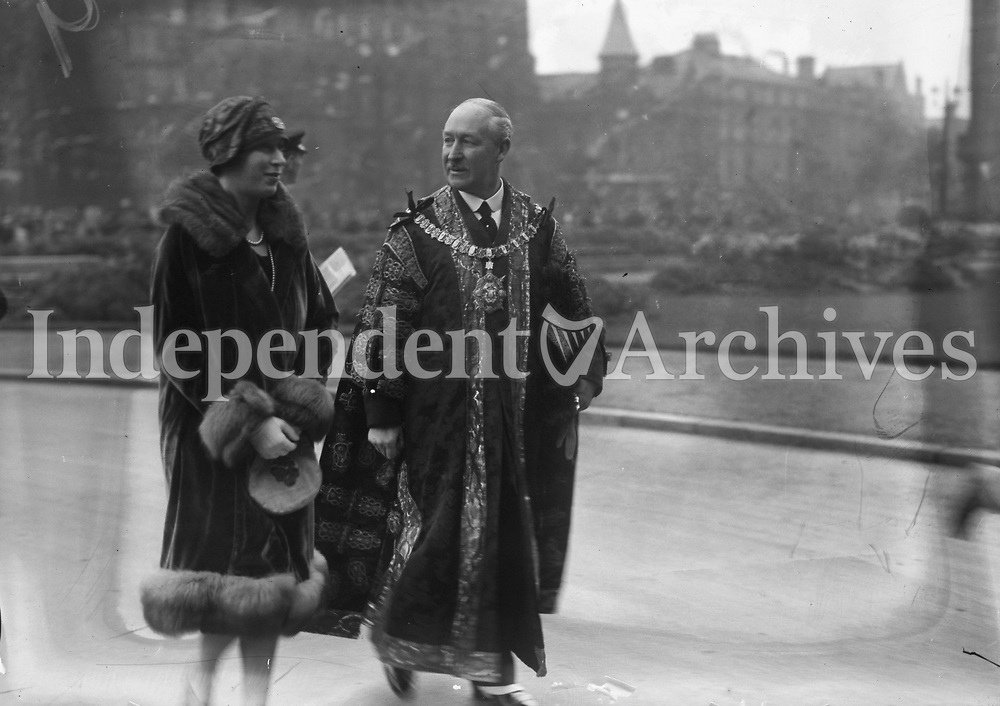 Princess Mary (Princess Royal) &amp; Viscount Lascelles in Belfast, Princess Mary with a man in robes, 13 October 1928.<br /> (Part of the Independent Newspapers Ireland/NLI Collection)