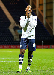 Daniel Johnson of Preston North End reacts after missing the final penalty to send Bournemouth through to the Fourth Round - Mandatory byline: Matt McNulty/JMP - 07966386802 - 22/09/2015 - FOOTBALL - Deepdale Stadium -Preston,England - Preston North End v Bournemouth - Capital One Cup - Third Round