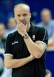 Head coach of Slovenia Jure Zdovc during the EuroBasket 2009 3rd place match between Slovenia and Greece, on September 20, 2009, in Arena Spodek, Katowice, Poland.   (Photo by Vid Ponikvar / Sportida)