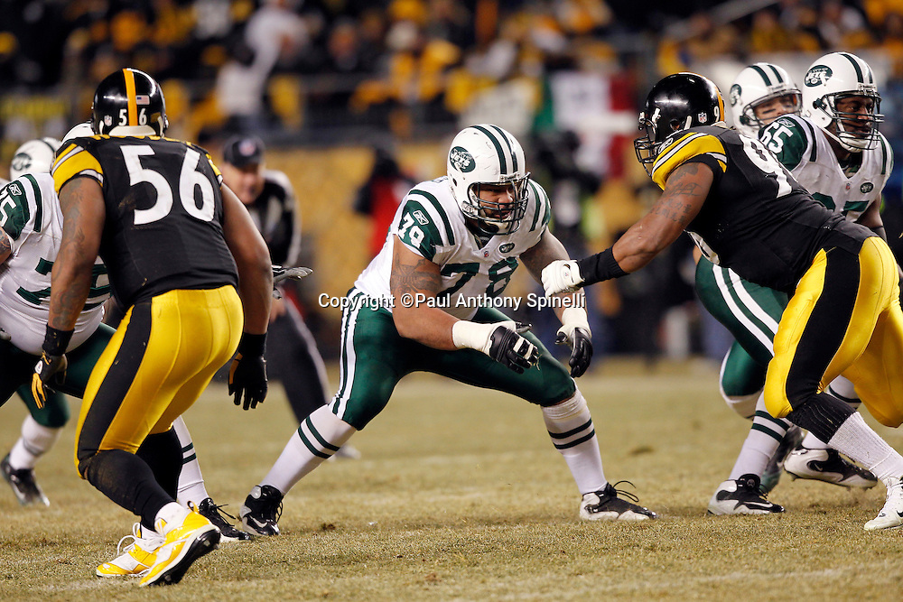 New York Jets offensive tackle Wayne Hunter (78) blocks during the NFL 2011 AFC Championship playoff football game against the Pittsburgh Steelers on Sunday, January 23, 2011 in Pittsburgh, Pennsylvania. The Steelers won the game 24-19. (©Paul Anthony Spinelli)