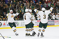 during the men's hockey game between the Clarkson Golden Knights and the Vermont Catamouts at Gutterson Fieldhouse on Saturday night October 8, 2016 in Burlington. (BRIAN JENKINS/for the FREE PRESS)