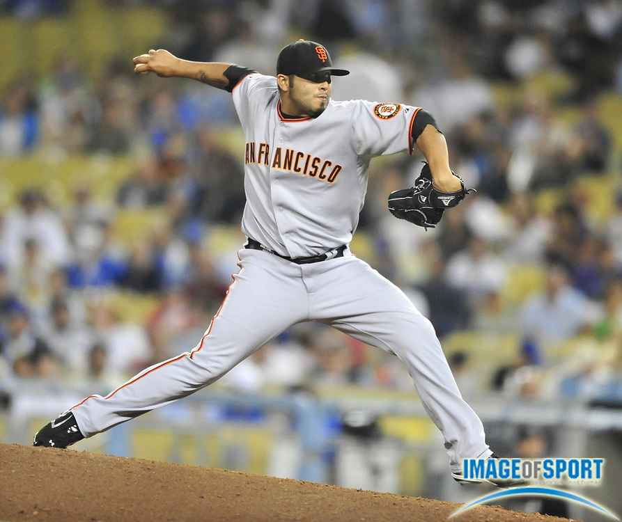 Jul 30, 2008; Los Angeles, CA, USA; San Francisco Giants reliever Sergio Romo (54) pitches during the Giants 4-0 loss to the Los Angeles Dodgers at Dodger Stadium. Mandatory Credit: Kirby Lee/Image of Sport-US PRESSWIRE