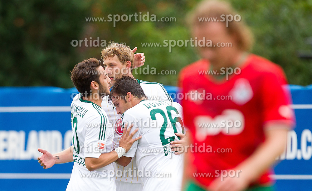22.07.2014, Alois Latini Stadion, Zell am See, AUT, Testspiel, Bayer 04 Leverkusen vs Lokomotive Moskau, im Bild Torjubel Hakan Calhanoglu (Bayer 04 Leverkusen), Stefan Kießling (Bayer 04 Leverkusen), Giulio Donati (Bayer 04 Leverkusen) // during a Friendly Match between Bayer 04 Leverkusen and Lokomotiv Moskva at the Alois Latini Stadium, Zell am See, Austria on 2014/07/22. EXPA Pictures © 2014, PhotoCredit: EXPA/ JFK