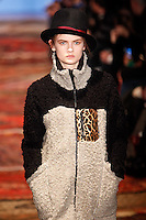 Model walks down runway for F2012 Y-3's collection in Mercedes Benz fashion week in New York on Feb 10, 2012 NYC