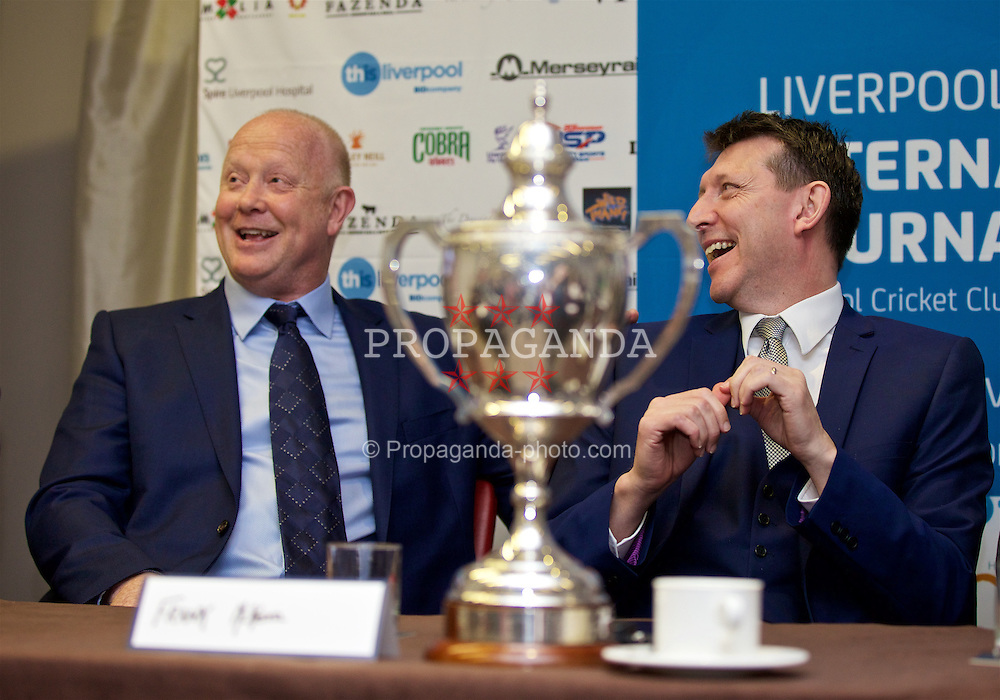 LIVERPOOL, ENGLAND - Monday, April 18, 2016: Former England and Liverpool captain and Tennis Ambassador Mark Wright with Frank McKenna during the launch of the 2016 Liverpool Hope University International Tennis Tournament at the Hilton Hotel. (Pic by David Rawcliffe/Propaganda)