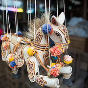 NYAUNG-U, Myanmar - A marionette toy horse for sale at Nyaung-U Market, near Bagan, Myanmar (Burma).