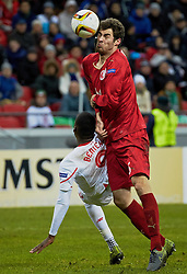 KAZAN, RUSSIA - Thursday, November 5, 2015: Liverpool's Christian Benteke in action against Rubin Kazan's Solomon Kverkvelia during the UEFA Europa League Group Stage Group B match at the Kazan Arena. (Pic by Oleg Nikishin/Propaganda)