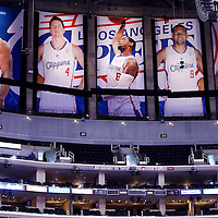 23 October 2013: General view of the banners covering the Lakes banners prior to the Los Angeles Clippers 103-99 victory over the Utah Jazz at the Staples Center, Los Angeles, California, USA.