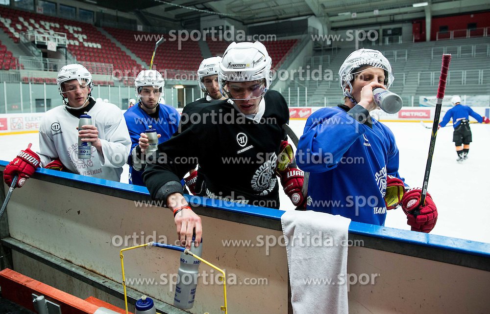 Players during practice session of HD Jesenice, on April 5, 2015 in Arena Podmezakla, Jesenice, Slovenia. Photo by Vid Ponikvar / Sportida