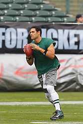 Sep 25, 2011; Oakland, CA, USA;  New York Jets quarterback Mark Sanchez (6) warms up before the game against the Oakland Raiders at O.co Coliseum. Oakland defeated New York 34-24.