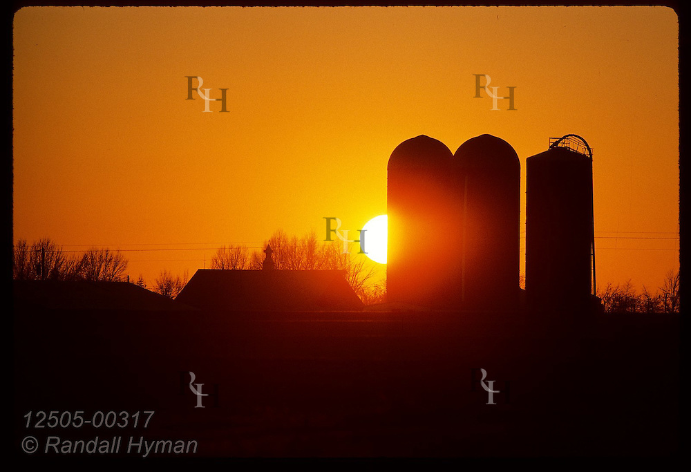 January sun sets behind silos on the Becker family farm near Laddonia. Missouri