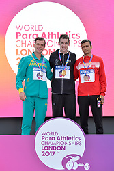 17/07/2017 : Michael McKillop (IRL), Gold Medal, Kenzie Deon (AUS), Silver Medal, Abbes Saidi (TUN), Bronze Medal, T38, Men's 800m, at the 2017 World Para Athletics Championships, Olympic Stadium, London, United Kingdom