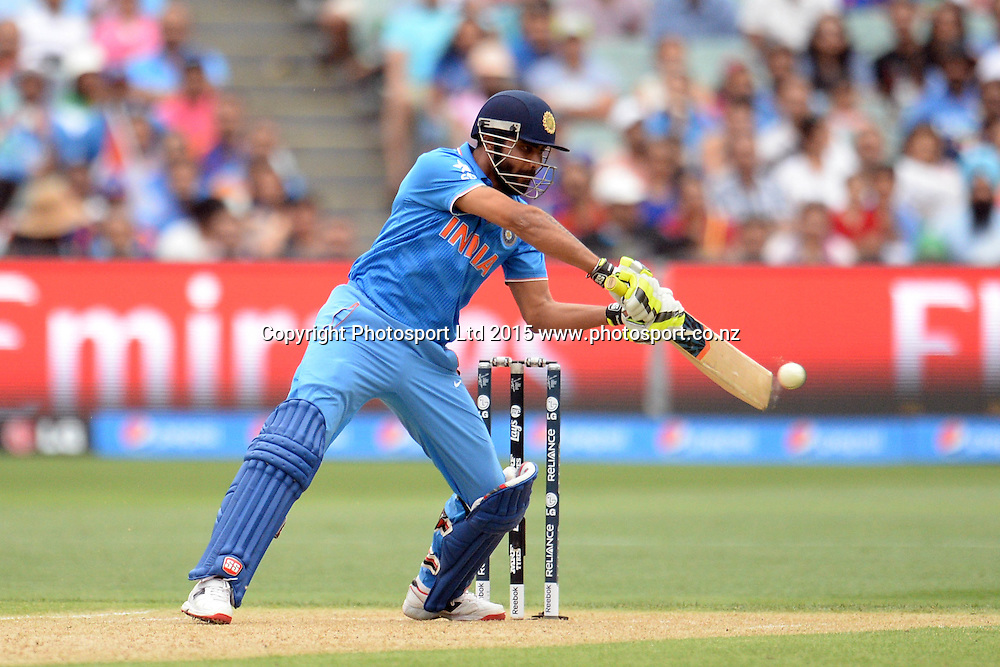 Indian batsman Ravindra Jadeja in action during the ICC Cricket World Cup match between India and Pakistan at Adelaide Oval in Adelaide, Australia. Sunday 15 February 2015. Copyright Photo: Raghavan Venugopal / www.photosport.co.nz