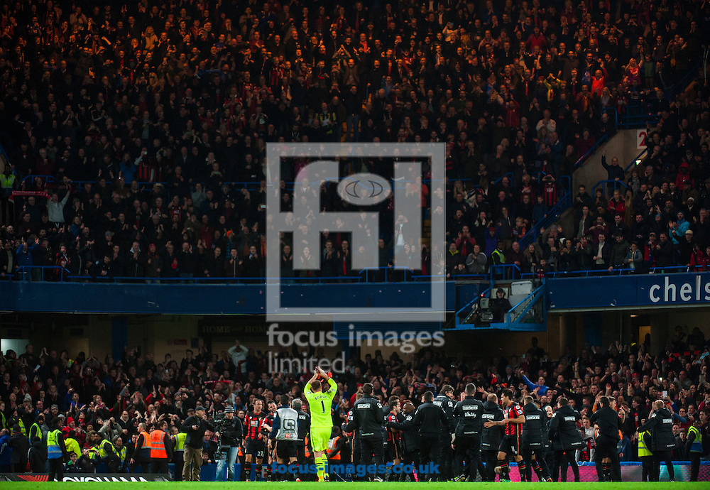 Artur Boruc of AFC Bournemouth applauds the away fans during the Barclays Premier League match at Stamford Bridge, London<br /> Picture by Jack Megaw/Focus Images Ltd +44 7481 764811<br /> 05/12/2015