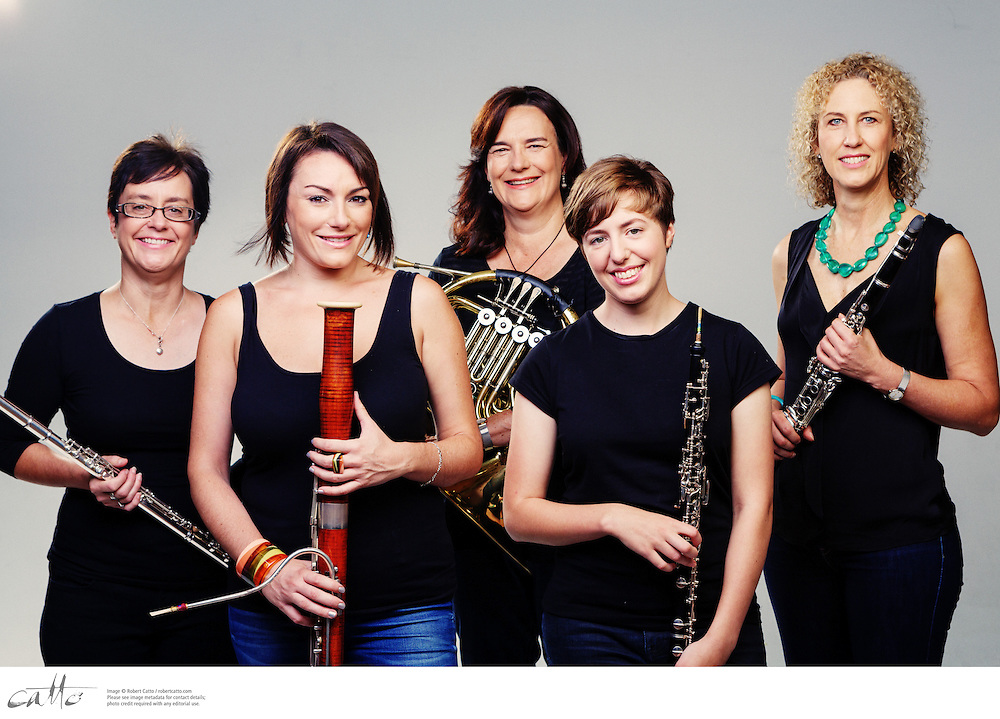 The Chambermaids photographed for Musica Viva, on Sunday 6 April 2014.   The Chambermaids are Lisa Breckenridge (flute piccolo), Elizabeth Chee (oboe), Alison Egan (french horn), Alexandra Farrugia (bassoon) and Jennie Ford (clarinet).