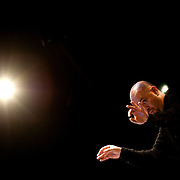 May 14, 2011 - Manhattan, NY : .Juan Trigos conducts The Eastman Broad Band as they perform during Symphony Space's Wall to Wall Sonidos concert on Saturday night. .CREDIT: Karsten Moran for The New York Times