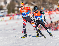 28.02.2019, Seefeld, AUT, FIS Weltmeisterschaften Ski Nordisch, Seefeld 2019, Nordische Kombination, Langlauf, im Bild v.l. Mario Seidl (AUT), Yoshito Watabe (JPN) // f.l. Mario Seidl of Austria and Yoshito Watabe of Japan during the Cross Country Competition of Nordic Combined for the FIS Nordic Ski World Championships 2019. Seefeld, Austria on 2019/02/28. EXPA Pictures © 2019, PhotoCredit: EXPA/ Stefan Adelsberger