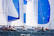 American Eagle, Nefertiti, and Columbia sailing in the Nantucket 12 Metre Class Regatta, day two.