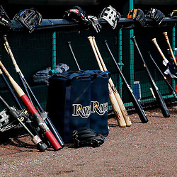March 22, 2012; Bradenton, FL, USA; A general view of bats and gloves for the Tampa Bay Rays by the dugout for a spring training game against the Pittsburgh Pirates at McKechnie Field. Mandatory Credit: Derick E. Hingle-US PRESSWIRE