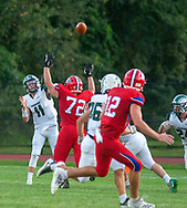 Pennridge's Bobby Croyle #11 makes a pass in the first quarter of the Pennridge at Neshaminy football game Friday, August 30, 2019 at Harry Frank Stadium in Langhorne, Pennsylvania. (WILLIAM THOMAS CAIN/PHOTOJOURNALIST)